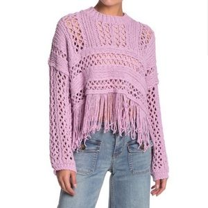 Free People Higher Love Fringed Crochet Sweater